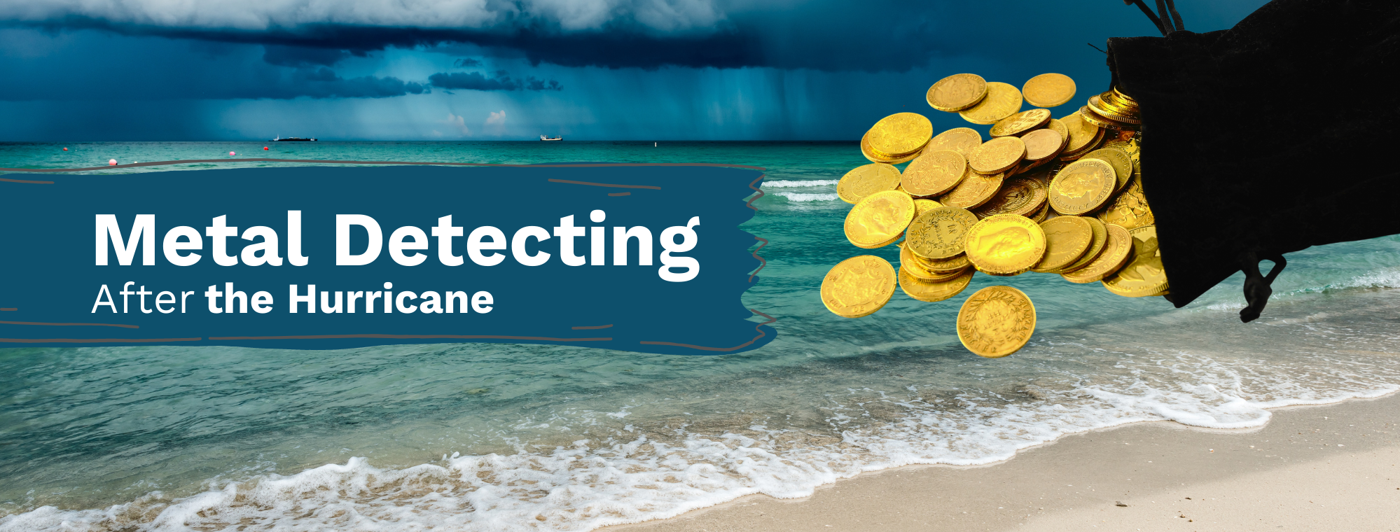 Metal Detecting After a Hurricane and gold coins on a beach