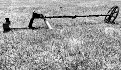 Image of Minelab Vanquish Metal Detector Sitting in the Grass with Pinpointer Leaning Against It