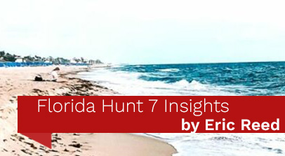 Sea Foam Covered Sandy Beach in Background with Red Banner Across Bottom that Reads Florida Hunt 7 Insights by Eric Reed