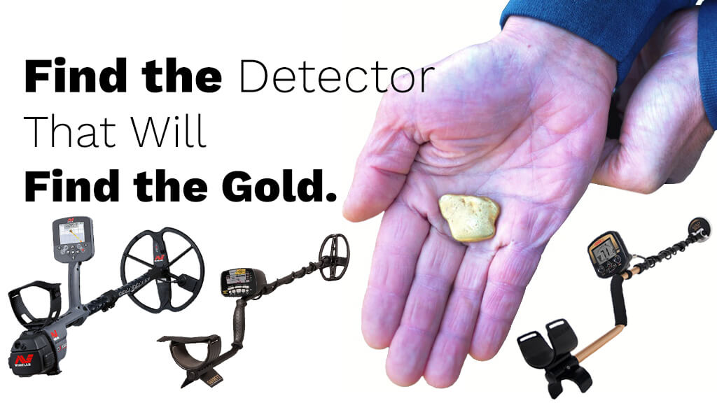 Image of a gold Nugget in the Middle of a Hand with a Blue Shirt Cuff and Three Metal Detectors Around it with Text in Black Reading Find the Detector that will find the Gold on a White Background