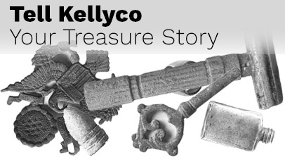 Tell Kellyco Your Treasure Story with Relics beneath in Black and White