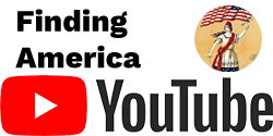 Finding America in Black Text with Youtube Icon Image to Right and Youtube Logo in Red and Black on Bottom Half