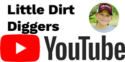 Youtube Logo with Little Dirt Diggers in Black Text Above and Emily Copeland Youtube Image on Right Side
