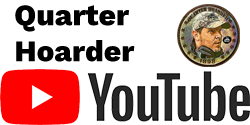 Quarter Hoarder in Black Text on Left with Logo on Right and Youtube Logo in Black and Red Below