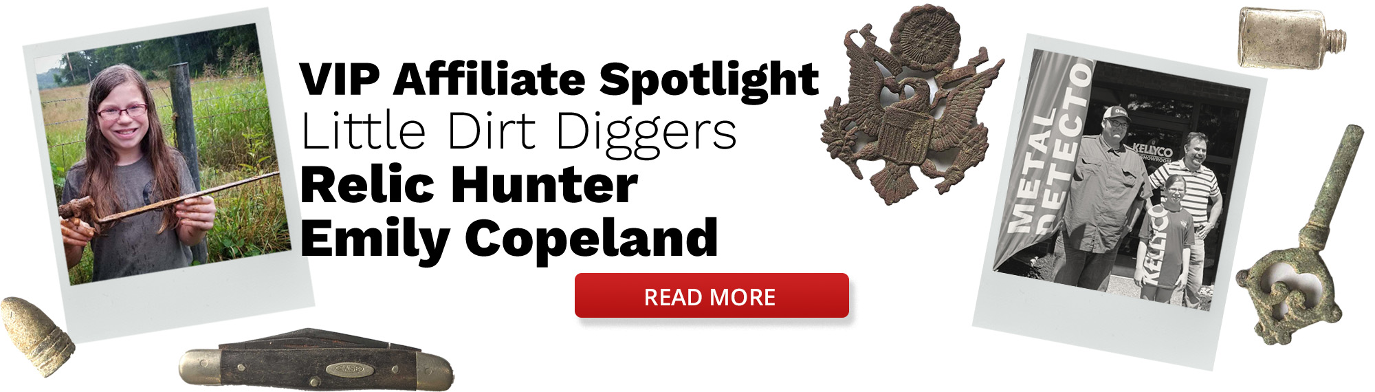 Little Dirt Diggers Affiliate Spotlight Banner with Relics Around Edges and Two Images Showing Emily Copeland