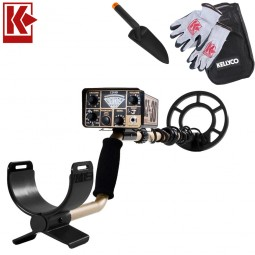 Fisher CZ-3D Metal Detector with Kellyco Gloves, Pouch, and Trowel in Upper Right Corner and Red Kellyco Logo in Upper Left on White Background