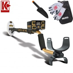Fisher Gold Bug 2 Pro Metal Detector with Kellyco Gloves, Pouch, and Trowel in Upper Right Corner and Red Kellyco Logo in Upper Left on White Background