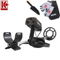 """Fisher 1280X Aquanaut Metal Detector with 8"""" Search Coil and Kellyco Gloves, Pouch, and Trowel in Upper Right Corner and Red Kellyco Logo in Upper Left on White Background"""