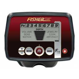 Closeup of control box on Fisher F11 Metal Detector