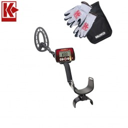 Fisher F22 Weatherproof Metal Detector with Kellyco Gloves, Pouch, and Trowel in Upper Right Corner and Red Kellyco Logo in Upper Left on White Background