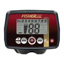 Closeup of control box on Fisher F22 Weatherproof Metal Detector