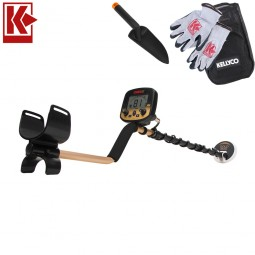Fisher Gold Bug Pro Metal Detector with Kellyco Gloves, Pouch, and Trowel in Upper Right Corner and Red Kellyco Logo in Upper Left on White Background