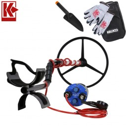 """Aquascan Aquapulse AQ1B Standard Diver Kit Metal Detector with 15"""" Submersible Coil with Kellyco Gloves, Pouch, and Trowel in Upper Right Corner and Red Kellyco Logo in Upper Left on White Background"""