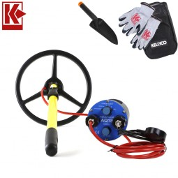 """Aquascan Aquapulse AQ1B Metal Detector Standard Diver Kit with 10"""" Submersible Coil and with Kellyco Gloves and Pouch in Upper Right Corner and Red Kellyco Logo in Upper Left on White Background"""