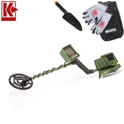 Garrett GTI 2500 Metal Detector with Kellyco Gloves and Pouch in Upper Right Corner and Red Kellyco Logo in Upper Left on White Background