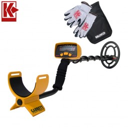 Garrett ACE 150 Metal Detector with Kellyco Gloves, Pouch, and Trowel in Upper Right Corner and Red Kellyco Logo in Upper Left on White Background