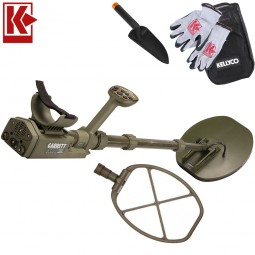 """Garrett ATX Pro Deepseeker Metal Detector - 11 x 13"""" Mono Coil Package with Kellyco Gloves, Pouch, and Trowel in Upper Right Corner and Red Kellyco Logo in Upper Left on White Background"""