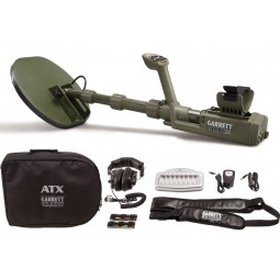 "Garrett ATX Extreme PI Metal Detector with 11 x 13"" DD Search Coil shown with accessories from Kellyco Metal Detectors"