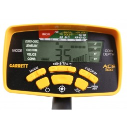 Closeup on panel and buttons on Garrett ACE 300 Metal Detector Special Scouts Detecting Kit