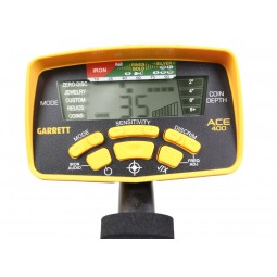 Garrett Ace 400 Metal Detector LCD screen turned on