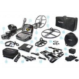 INVENIO Pro Pack Image 2Nokta Makro INVENIO Pro Pack Metal Detector With 3D Imaging shown with all accessories from Kellyco Metal Detectors