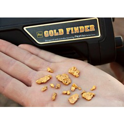Gold nuggets found with Nokta Makro AU Gold Finder Metal Detector resting in the palm of a hand