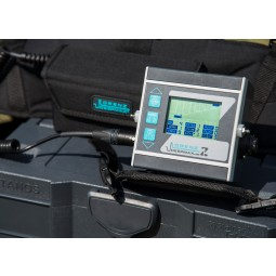 Closeup of control box of Lorenz Deepmax Z1 Metal Detector sitting on a hardcase