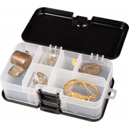 """Garrett Metal Detectors """"Keepers"""" Finds Box open with Relics and Jewelry on White Background"""