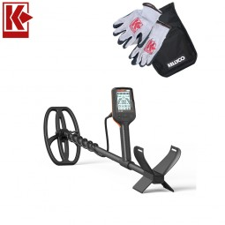 Quest X10 Metal Detector with Kellyco Gloves, Pouch, and Trowel in Upper Right Corner and Red Kellyco Logo in Upper Left on White Background
