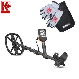 Quest Q30 Waterproof Metal Detector with Kellyco Gloves, Pouch, and Trowel in Upper Right Corner and Red Kellyco Logo in Upper Left on White Background