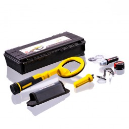 Nokta Makro Pulsedive Scuba Detector - Yellow laid out with all included accessories from Kellyco Metal Detectorson white background