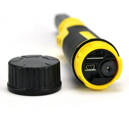 MicroUSB charging connector exposed on Nokta Makro PulseDive 2-in-1 Scuba Detector and Pinpointer