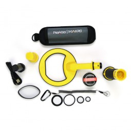 All components of Nokta Makro PulseDive 2-in-1 Scuba Detector and Pinpointer on white background