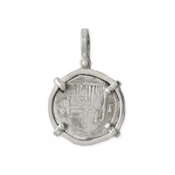 Mel Fisher Sterling Silver Single Prong 1 Reale Pendant - Shield-Out - 1