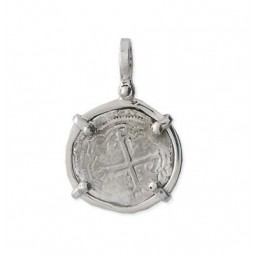 Mel Fisher Sterling Silver Single Prong 1 Reale Pendant - Shield-Out - 2