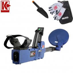 Minelab SDC 2300 Gold Metal Detector with Kellyco Gloves, Pouch, and Trowel in Upper Right Corner and Red Kellyco Logo in Upper Left on White Background