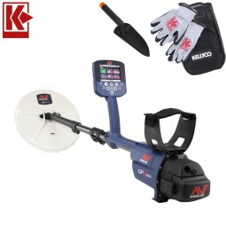 Minelab GPZ 7000 Metal Detector with Kellyco Gloves, Pouch, and Trowel in Upper Right Corner and Red Kellyco Logo in Upper Left on White Background