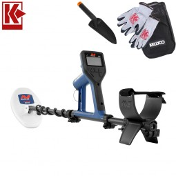 Minelab Gold Monster 1000 Metal Detector with Kellyco Gloves, Pouch, and Trowel in Upper Right Corner and Red Kellyco Logo in Upper Left on White Background