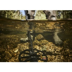 Minelab Equinox 600 Metal Detector search coil submerged under water