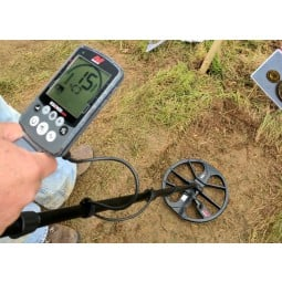 Detectorist point of view looking down at Minelab Equinox 800 Metal Detector
