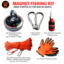 A graphic showing the King Kong Starter Fishing Magnet Kit - 400 lbs