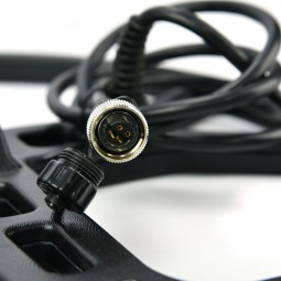 """Closeup on cable connector for NEL Storm 13 x 14"""" Search Coil for Garrett AT Pro"""