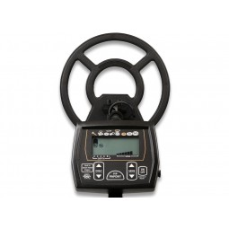 Looking straight down on White's Coinmaster Metal Detector with electronic panel near viewer
