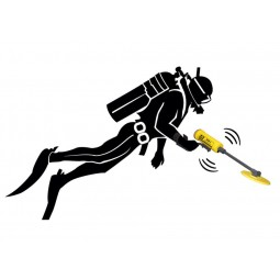 Graphic of scuba diver using JW Fishers SAR-1 Search and Recovery Metal Detector