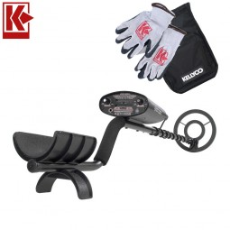 Bounty Hunter Quick Draw II Metal Detector with Kellyco Gloves and Pouch in Upper Right Corner and Red Kellyco Logo in Upper Left on White Background