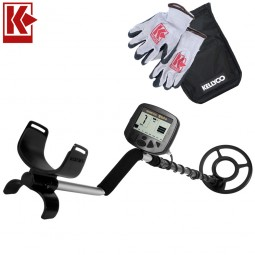Teknetics Alpha 2000 Metal Detector with Kellyco Gloves, Pouch, and Trowel in Upper Right Corner and Red Kellyco Logo in Upper Left on White Background