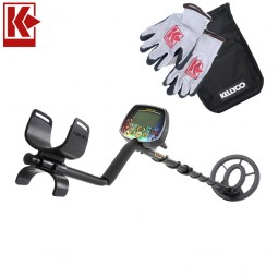 Teknetics Digitek Metal Detector with Kellyco Gloves, Pouch, and Trowel in Upper Right Corner and Red Kellyco Logo in Upper Left on White Background