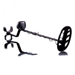 Teknetics Liberator Metal Detector in full view with search coil pointing to viewer