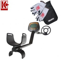 Bounty Hunter Lone Star Pro Metal Detector with Kellyco Gloves, Pouch, and Trowel in Upper Right Corner and Red Kellyco Logo in Upper Left on White Background