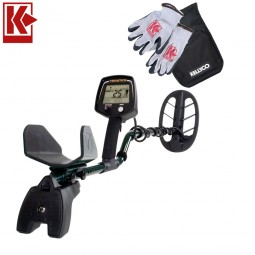 Teknetics T2 Classic Metal Detector with Kellyco Gloves, Pouch, and Trowel in Upper Right Corner and Red Kellyco Logo in Upper Left on White Background